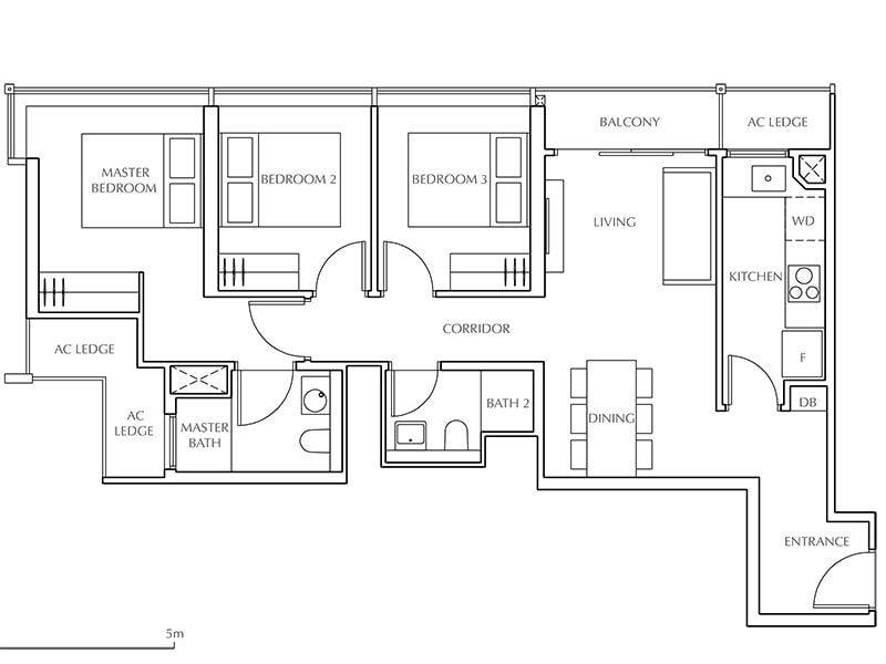 3 Bedroom Type C2 83sqm /893sqft